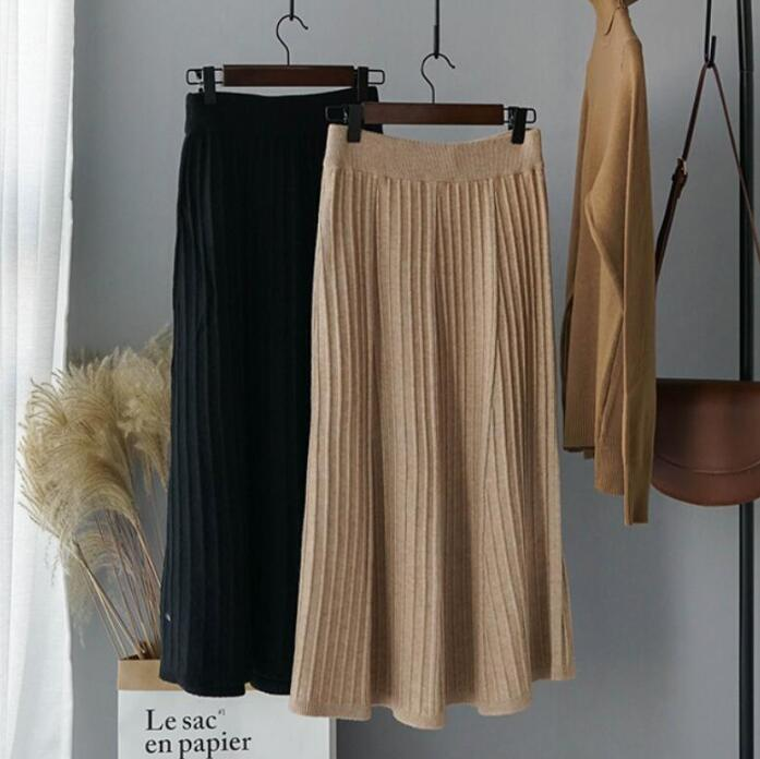 Knitted Pleated Skirts Elastic High Waist Long Skirts Ladies Office Elegant Faldas Fall 2019 Korean Fashion Streetwear