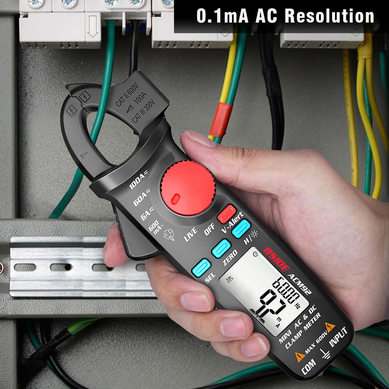 Tools : Digital Clamp Meter BSIDE ACM92 DC AC Current 100A 0 1 1mA Car repair Ammeter Multimeter voltage Ohm Hz NCV Continuity Tester