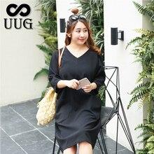 UUG  Women Clothing  Autumn Spring Plus Size Half Sleeve Black Dresses Loose V-neck Sexy Vestidos Large Size цена