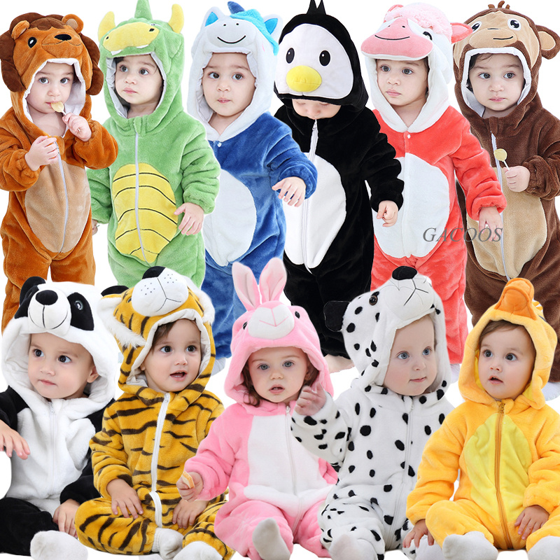 Inflant Baby Unciorn Rompers Winter Warm Overalls Christmas Romper For Baby Kugurumi Onesie Kids Boys Lion Costume Hooded Outfit