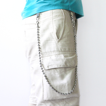 76cm Stainless Steel Chains for Trousers Rock Punk Trousers Hipster Pant Jean Keychain Silver Clip Hiphop 8mm Ball Chain street big ring key chain rock punk trousers hipster key chains pant belt jean keychain hiphop portachiavi kpop accessories kl08