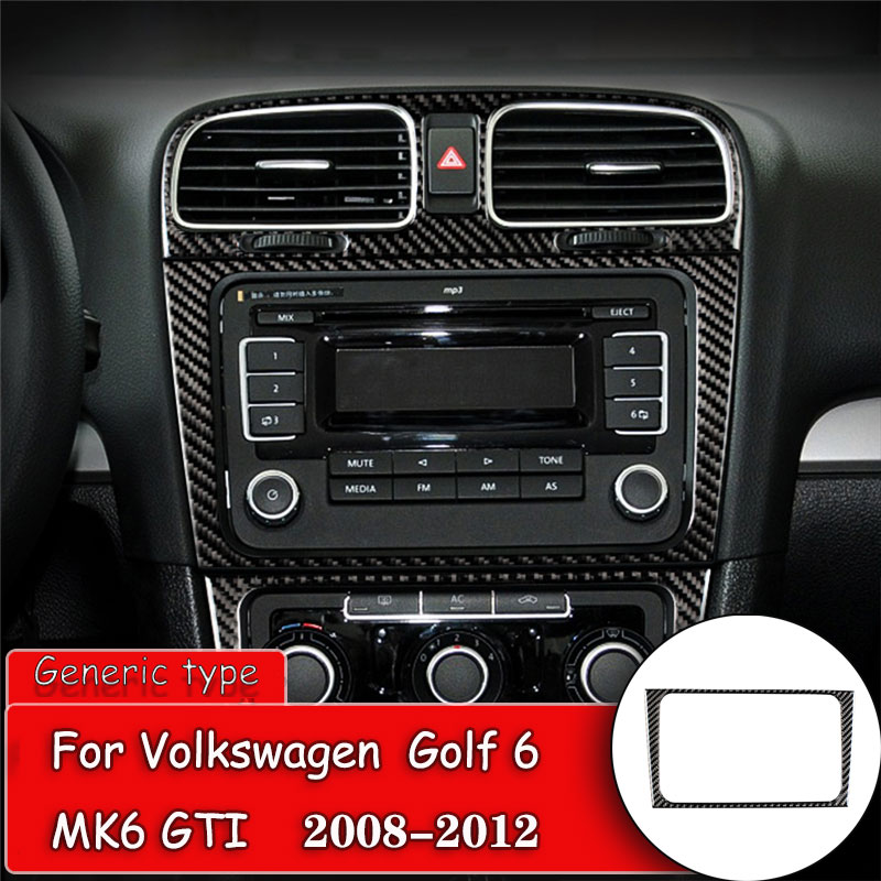 <font><b>Carbon</b></font> Fiber Dashboard CD player panel frame Trim Protection Decorative Trim For Volkswagen <font><b>VW</b></font> <font><b>Golf</b></font> 6 MK6 GTI 2008-2012 image