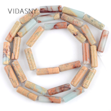 Natural Shoushan Stone Column Beads For Needlework Jewelry Making 4*13mm Charm Spacer Loose Diy Bracelet Necklace 15
