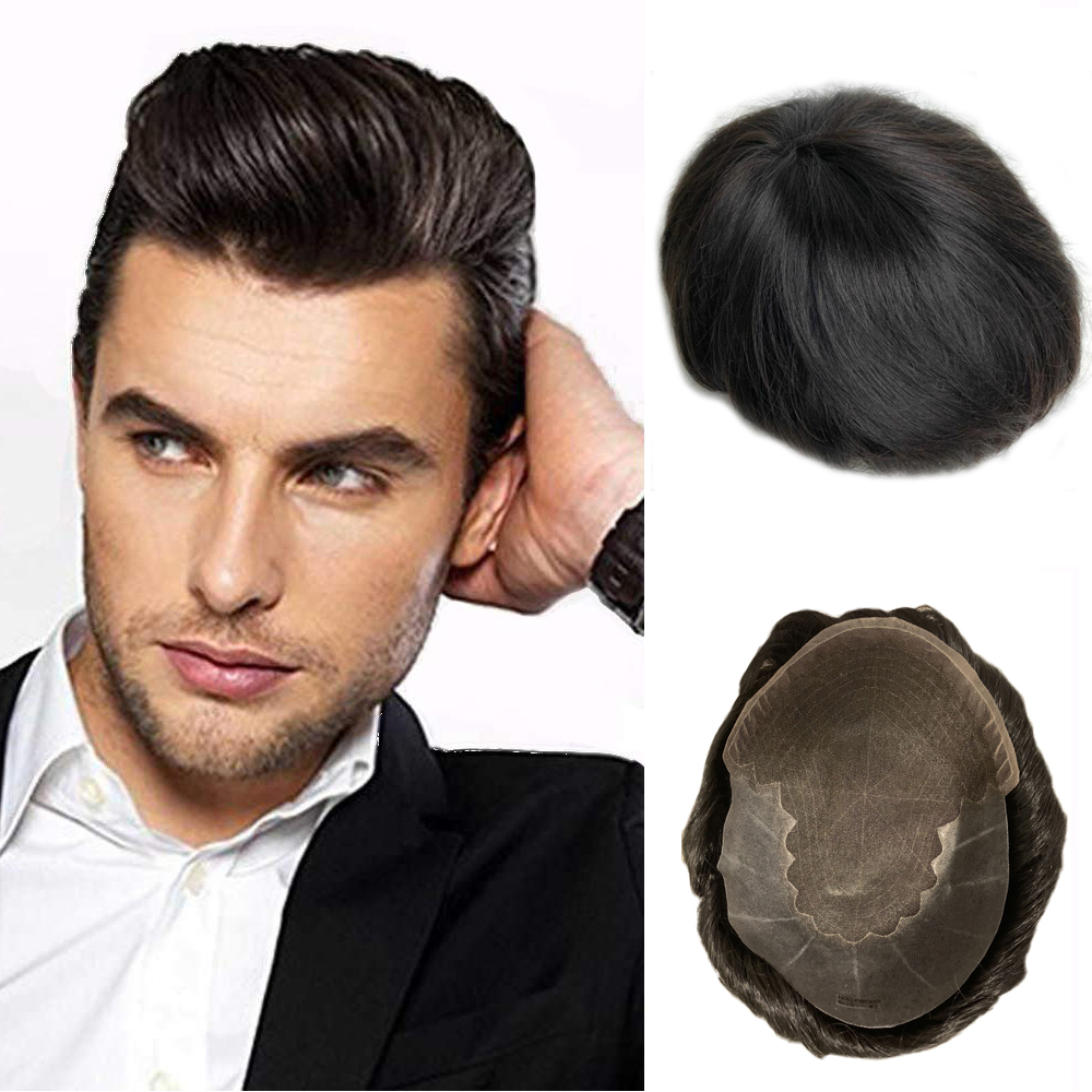 BYMC European Virgin Human Hair Toupee For Men With 8x10 Inch Soft French Lace Cap With 2inch Clearly PU In Back