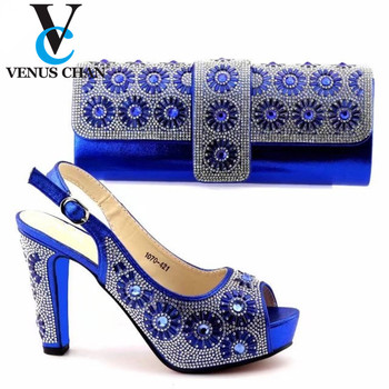 2020 Blue Ladies Sandals with Matching Bags Set for African Party Italian Square Heels Wedding Shoes and Purse Set