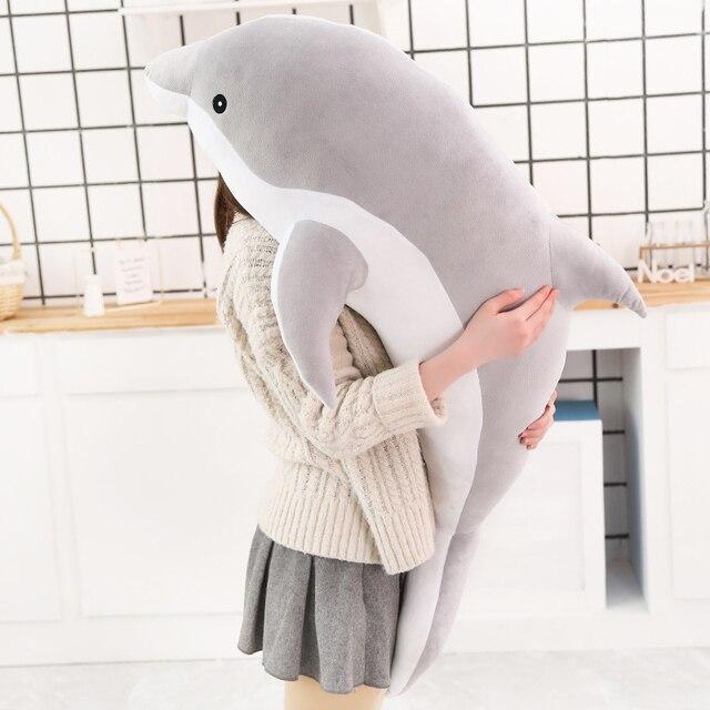 1pc 160CM Big Size kawaii Dolphin Plush Toys Lovely Stuffed Soft Animal Pillow Dolls for Children Girls Sleeping Cushion Gift