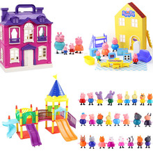 Peppa Pig George Family Friends Doll Purple house Scene Amusement Park PVC Action Figures model Children's birthday toy gift