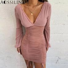 Aossilind Плиссированное осеннее платье с рукавом фонариком