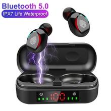 TWS אלחוטי אוזניות Bluetooth V5.0 ספורט אופנה נייד אוזניות משחקי LED כוח תצוגת אוזניות עבור IOS אנדרואיד