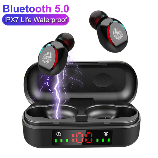 TWS Wireless Earphones Bluetooth V5.0 Sport Fashion Portable Headphones Gaming LED Power Display Headsets for IOS Android