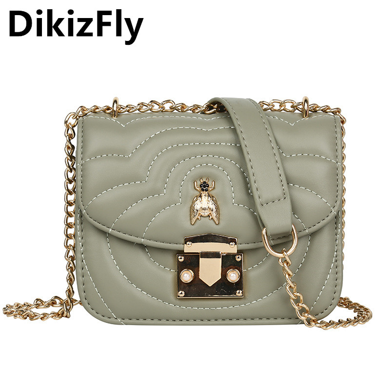 DikizFly New Fashion PU Lether Women Shoulder Bag Chains Crossbody Bags 2019 All-Match Small Handbag Ladies Flap Party Purse Sac