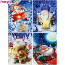 Fezrgea Christmas Diamond Painting Full Drill Square 5D Diamond Embroidery Santa Claus Cartoon Picture Of Rhinestone Home Decoration Gift barba napoli pубашка