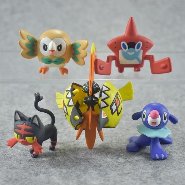 FMRXK 4~7cm Anime Cartoon Sun Moon Rowlet Litten Popplio Tapu Koko Rotom PVC Figures Toys Model Collection For Kids Children