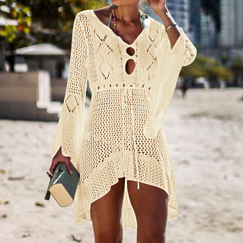 Loozykit 2019 Women Crochet Knitted Cover Up Dress Beach Tunic Long Pareos Bikini Cover Bathing Suits Beachwears Robe Plage 15