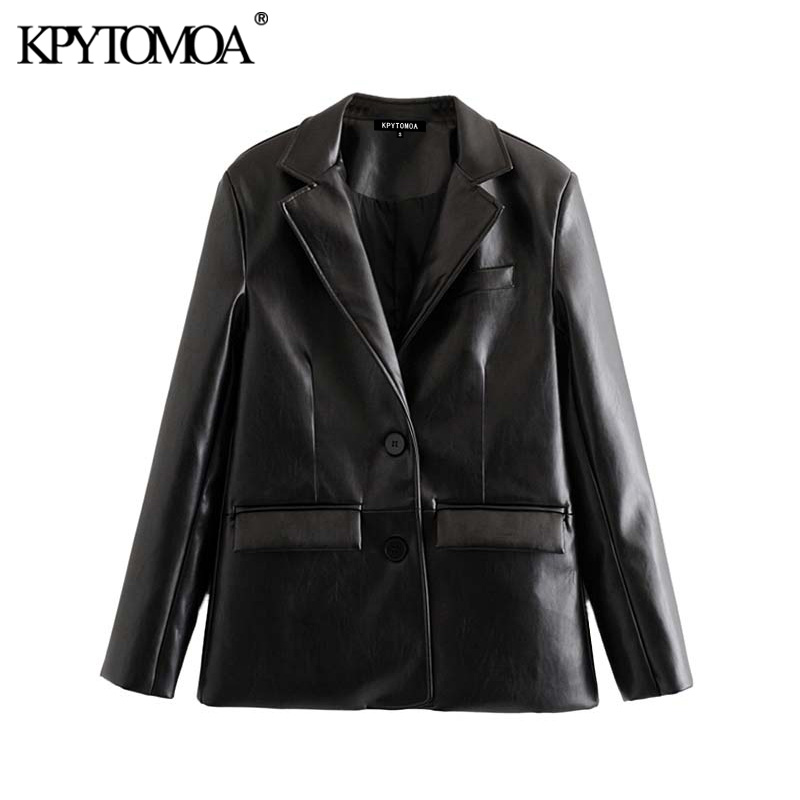 Vintage Stylish PU Faux Leather Pocket Blazer Coat Women 2020 Fashion Notched Collar Long Sleeve Female Outerwear Chic Tops