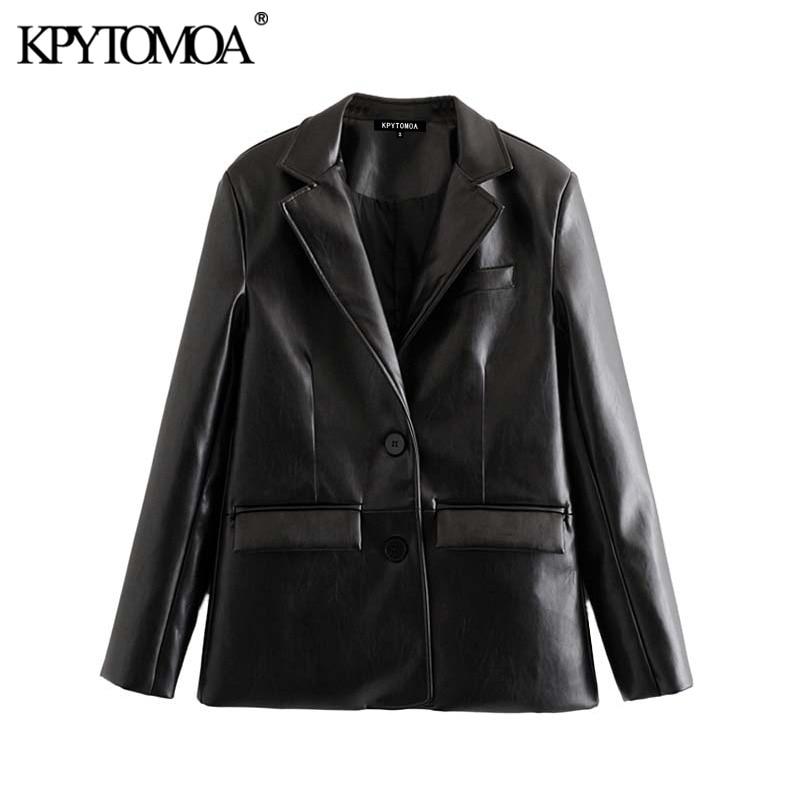 Vintage Stylish PU Faux Leather Pocket Blazer Coat Women 2020 Fashion Notched Collar Long Sleeve Female Outerwear Chic Tops