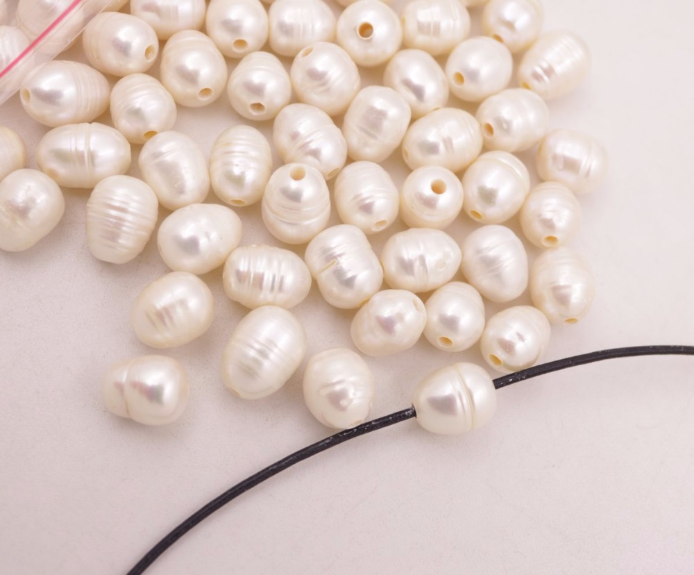 Купить с кэшбэком 100 PCS Natural White Growth Pearl Loose Beads larger Hole Size : 2mm