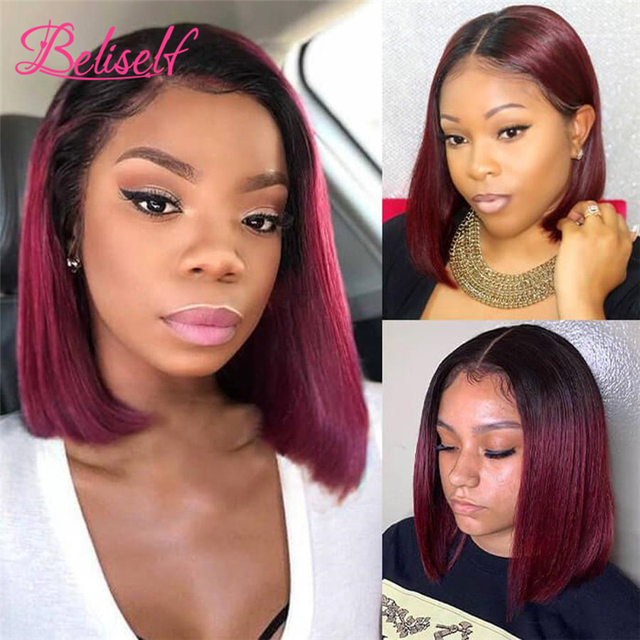 Short Bob 4×4 Lace Closure Wig 1B 99J Straight Burgundy Lace Front Wig Human Hair Brazilian Remy Hair Ombre Wine Red 180 Density 1