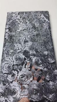 Gray African Lace Fabric 2019 Embroidered Nigerian Wedding Lace Fabric High Quality French Tulle Lace Fabric Beads FJU22