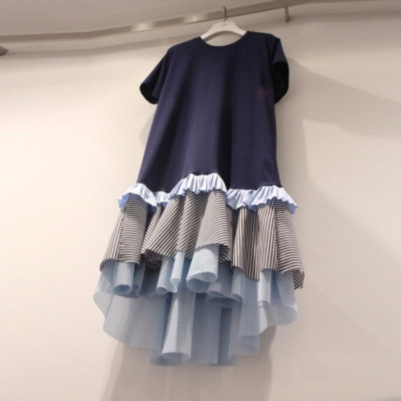 LANMREM 2020 new summer fashion women clothing round neck short sleeves ruffles patchwork mesh pullover loose dress WL03905L