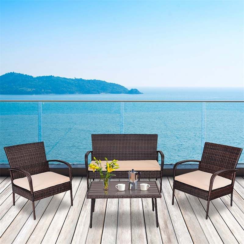 4 Pcs Table Sofa Furniture Set With Cushions PE Rattan Material Eco-friendly And Lightweight Coffee Set Assembly Needed