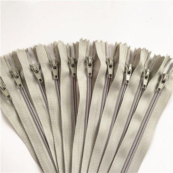 10 шт. 3 дюйма-24 дюйма(7,5 см-60 см) нейлоновые застежки-молнии для шитья на заказ нейлоновые молнии оптом 20 цветов - Цвет: light gray