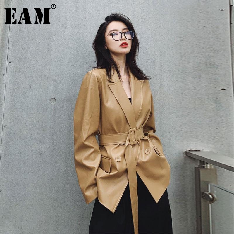 [EAM] Loose Fit Khaki Pu Lether Big Size Bandage Jacket New Lapel Long Sleeve Women Coat Fashion Tide Spring Autumn 2020 1