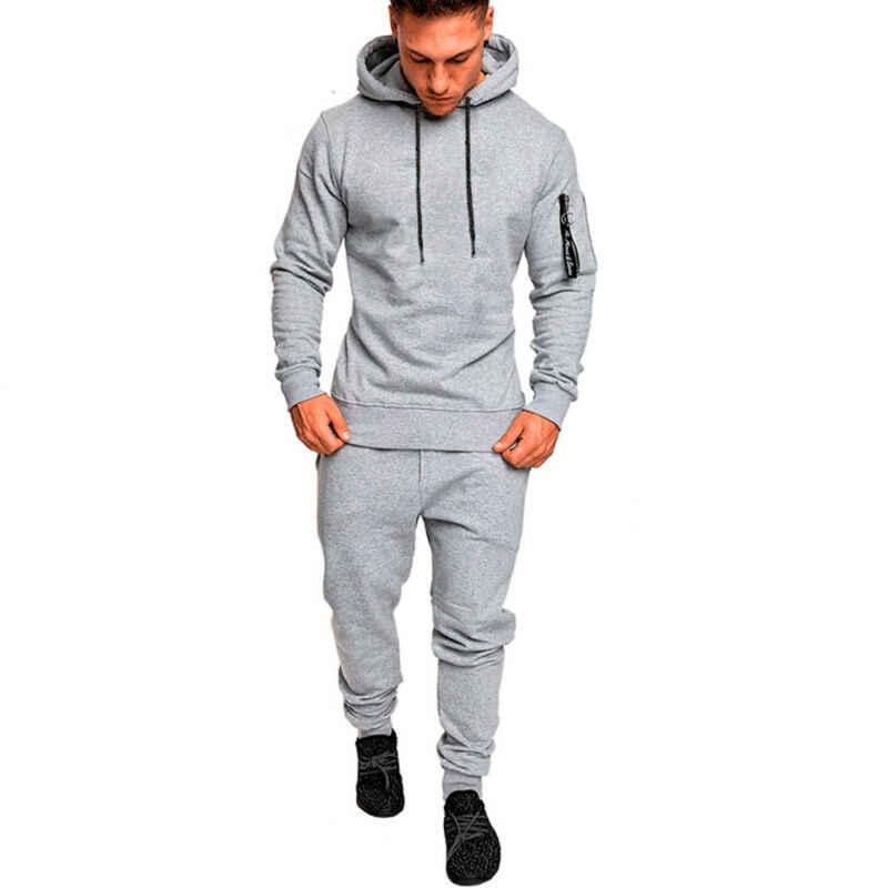Männer Running Set Trainingsanzug Top Bottom Sport Fitness Sport Gym Anzug Hose Pant String Hut Langarm Hoodie Herbst Frühling 2019