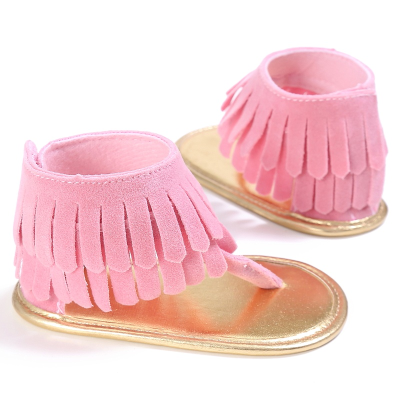 Summer Newborn Baby  Girl Shoes Tassel  Summer Shoes Anti-slip Flip Flop Prewalker For Baby Girls 0-18M