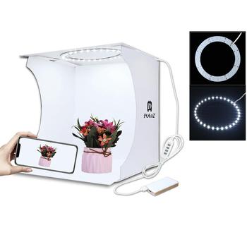 Mini pierścień Lightbox składany przenośny namiot do zdjęć fotografia Softbox podświetlana tablica Studio strzelanie pudełko w kształcie namiotu zestaw z 6 tłem tanie i dobre opinie PULUZ 24*23*22cm 9 4*9 1*8 7 inch (Unfolded) Pakiet 1 Plastic+ cloth 325g 20cm Ring LED Panel led lightbox Photo Video Box soft box lightroom