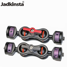 "Jadkinsta 360 Degree Dual Ball Head Hot Shoe Magic Arm Mount Adapter with 1/4"" for Sony Canon Nikon DSLR Cameras Ballhead"