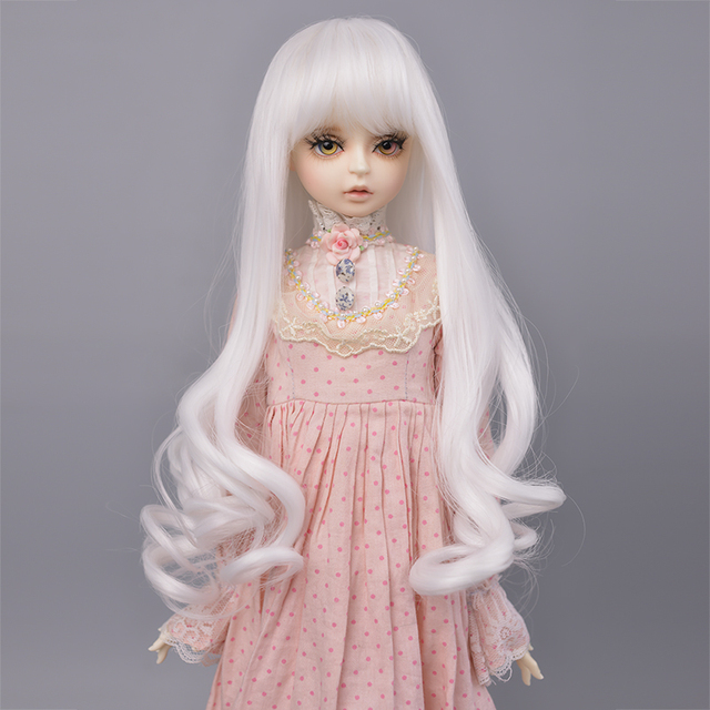 MUZI Wig 1//4 Bjd Hair High Temperature Long Gray Straight and Curly Bjd Wig SD for BJD Doll 01