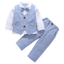 цена на AmzBarley kids suits boys 2pcs children blazer wedding suits for boys Gentleman Clothing Sets infantil menino shirt+ Trousers