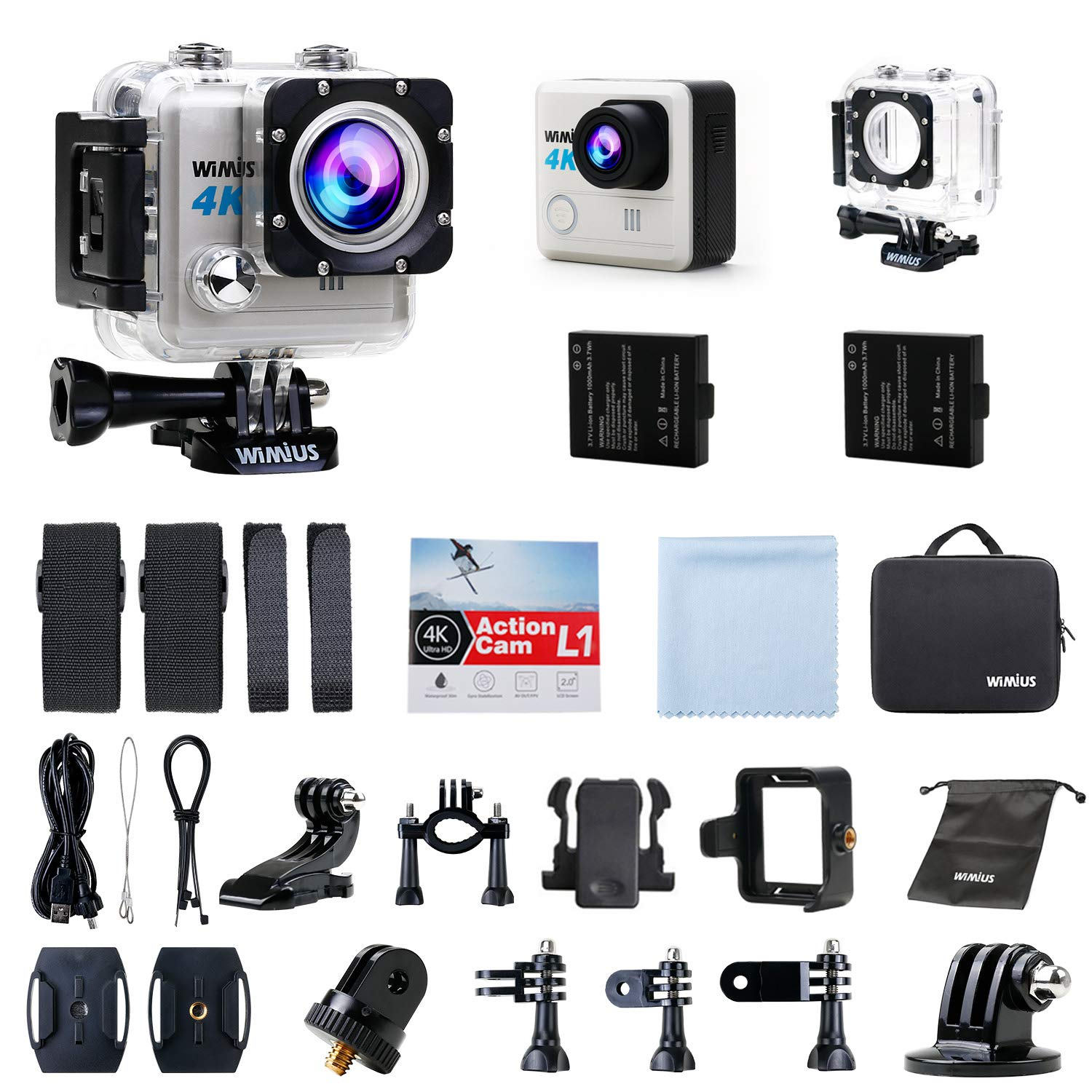 Action camera Wimius L1 ULTRA HD 4K, 20 MP, WI-fi Accesories