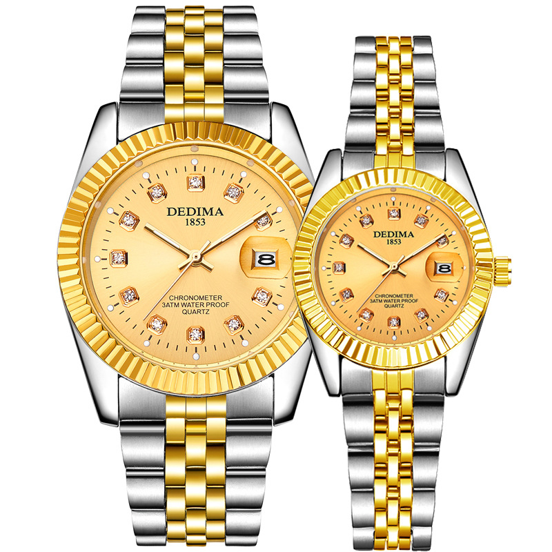KINGNUOS Fashion Steel Band Diamond Encrusted Business Men Women Watch Calendar Waterproof High-end Luminous Lover Wristwatches
