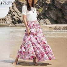 ZANZEA bohème robe à volants femmes 2021 été imprimé fleuri Maxi Vestidos décontracté dames élastique taille haute bas grande taille 5XL