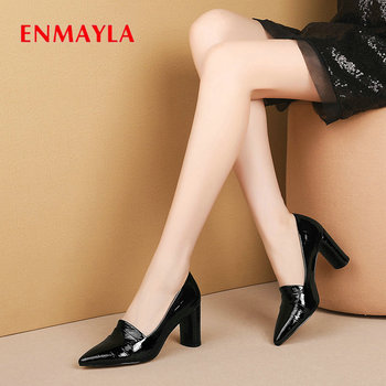 ENMAYLA 2020 Elegant Women Shoes Pointed Toe Slip-On Patent Leather Wedding Shoes Square Heel Shallow High Heel Women Pumps 43