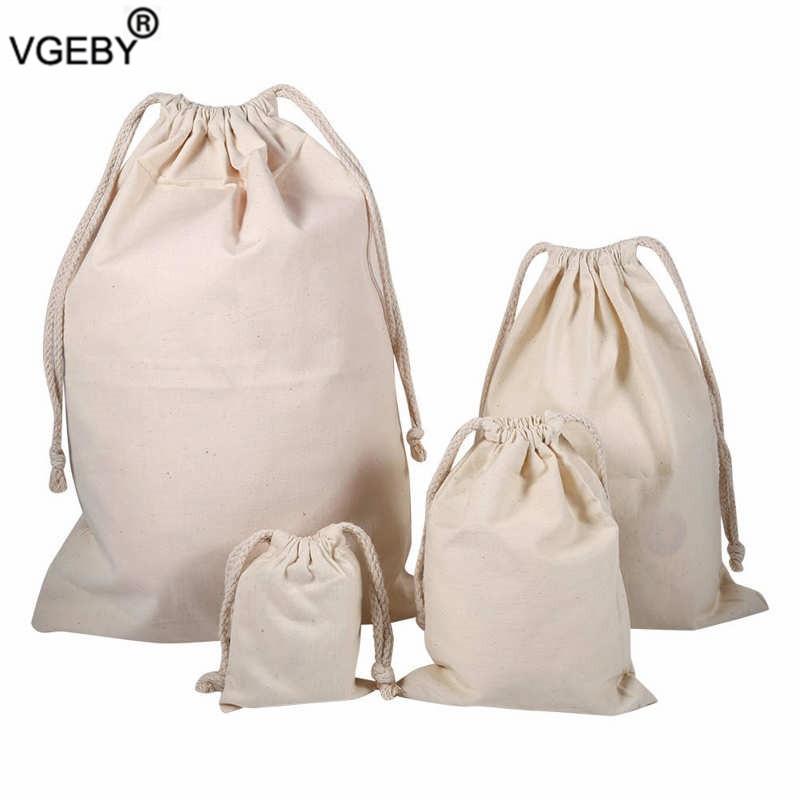 Household Plain Cotton Drawstring Storage Laundry Sack Stuff Bag for Wedding Favors Party Christmas Gift
