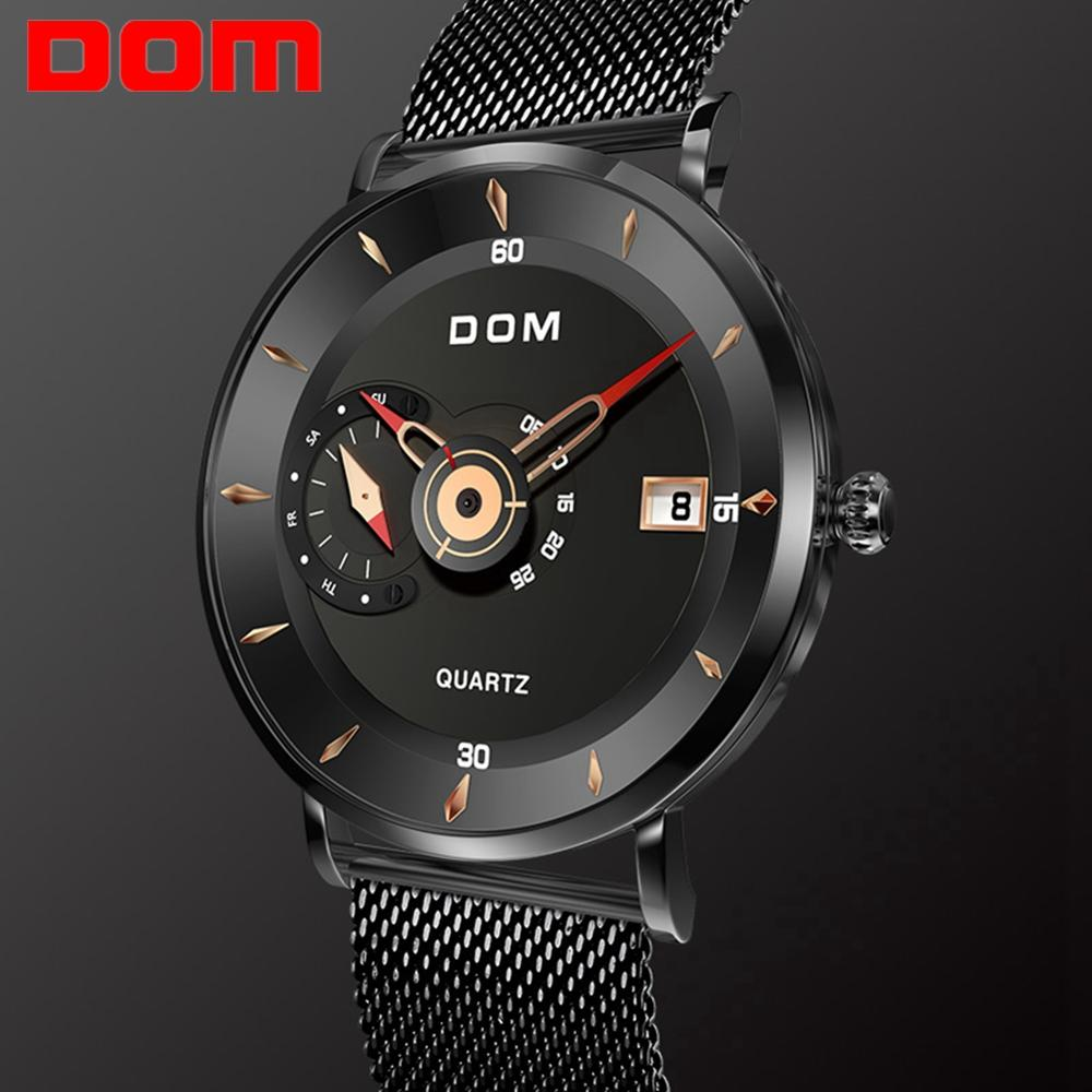 DOM Military Watch Clock Quartz Steel Black Waterproof Men's Brand Men Sport M-1299 Rriginal-Design