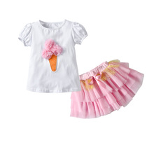 Girls Clothes Sets Summer Girl Lce Cream T-shirt+Dress 2pcs Kids Clothes 1-5 Years Princess Dress Girls Suit Children Clothing clothing sets children baby 2pcs clothes girls summer t shirts dress 2pcs girls clothes for age 2 3 4 5 6 years kids sport suit