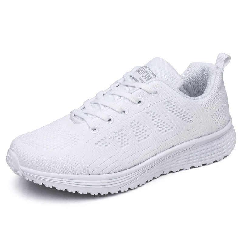 Moda mężczyźni kobiety obuwie kobieta Fly Weave Mesh oddychające Walking czarno-białe trampki antypoślizgowe buty damskie na platformie QJ