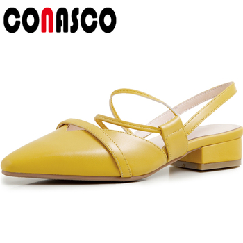 CONASCO Fashion Concise Casual 2020 Summer New Women Genuine Leather Sandals Pumps Narrow Band Hollow Out Shallow Shoes Woman