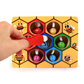 Kids Hive Game Board Montessori Toys Color Cognition Clip Small Bee Jigsaw Toy Wooden Learning Educational Beehive Games Jigsaws