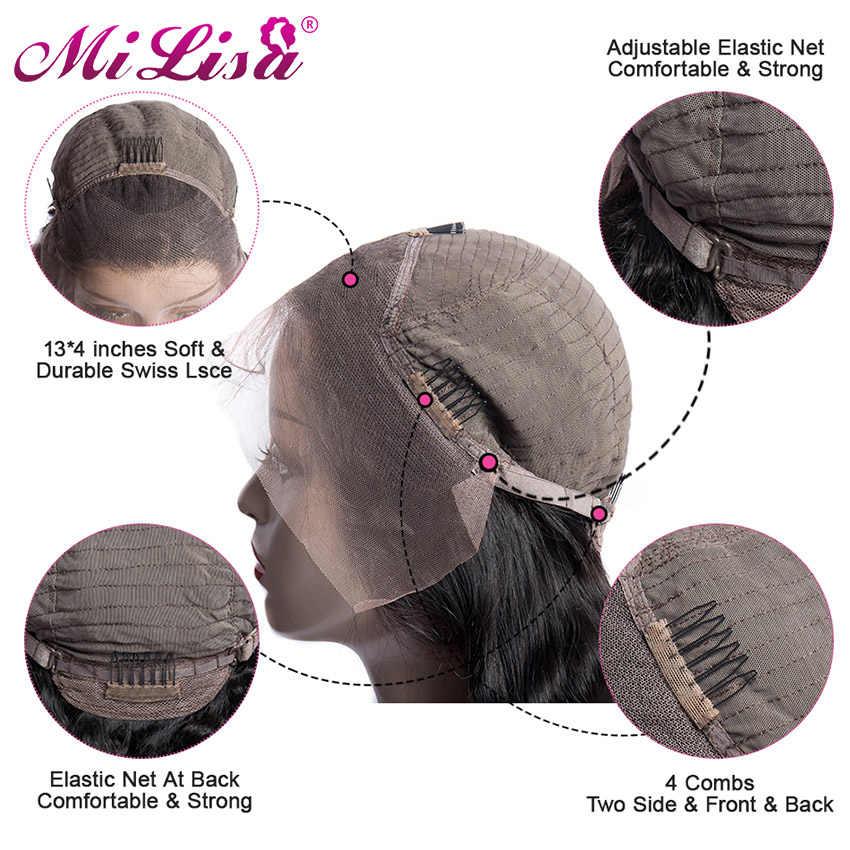 Peluca recta rizada malaya pelucas de cabello humano con frente de encaje sin pegamento para mujeres negras pelucas rectas Yaki gruesas cabello Remy Mi Lisa 150