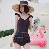 Retro Swimsuit Ladies One Piece Closed With Push Up Swimsuits Woman 2019 1 Women Korean Shop Bikii Lovely Leaf Super Fairy Pure