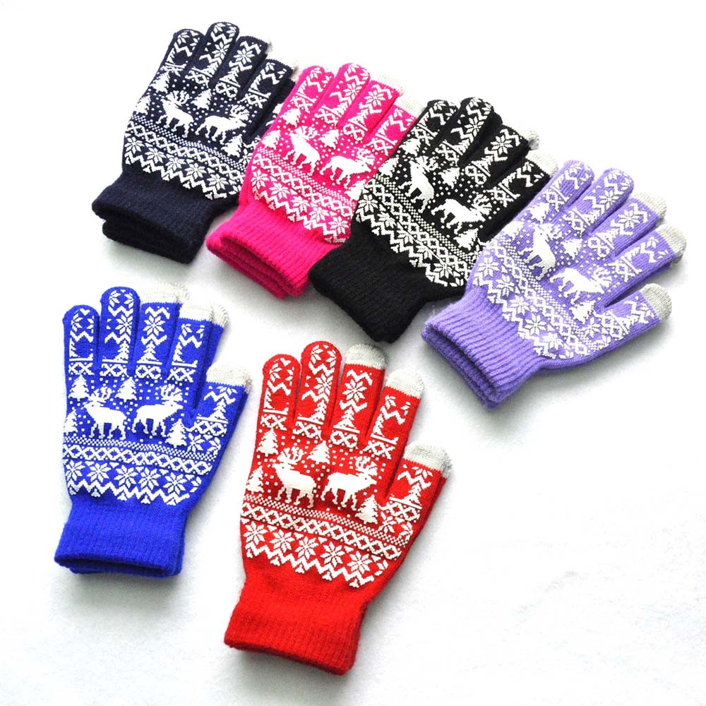 Men Women Christmas Winter Warm Knitted Wapiti Pint Screen Cute Gloves