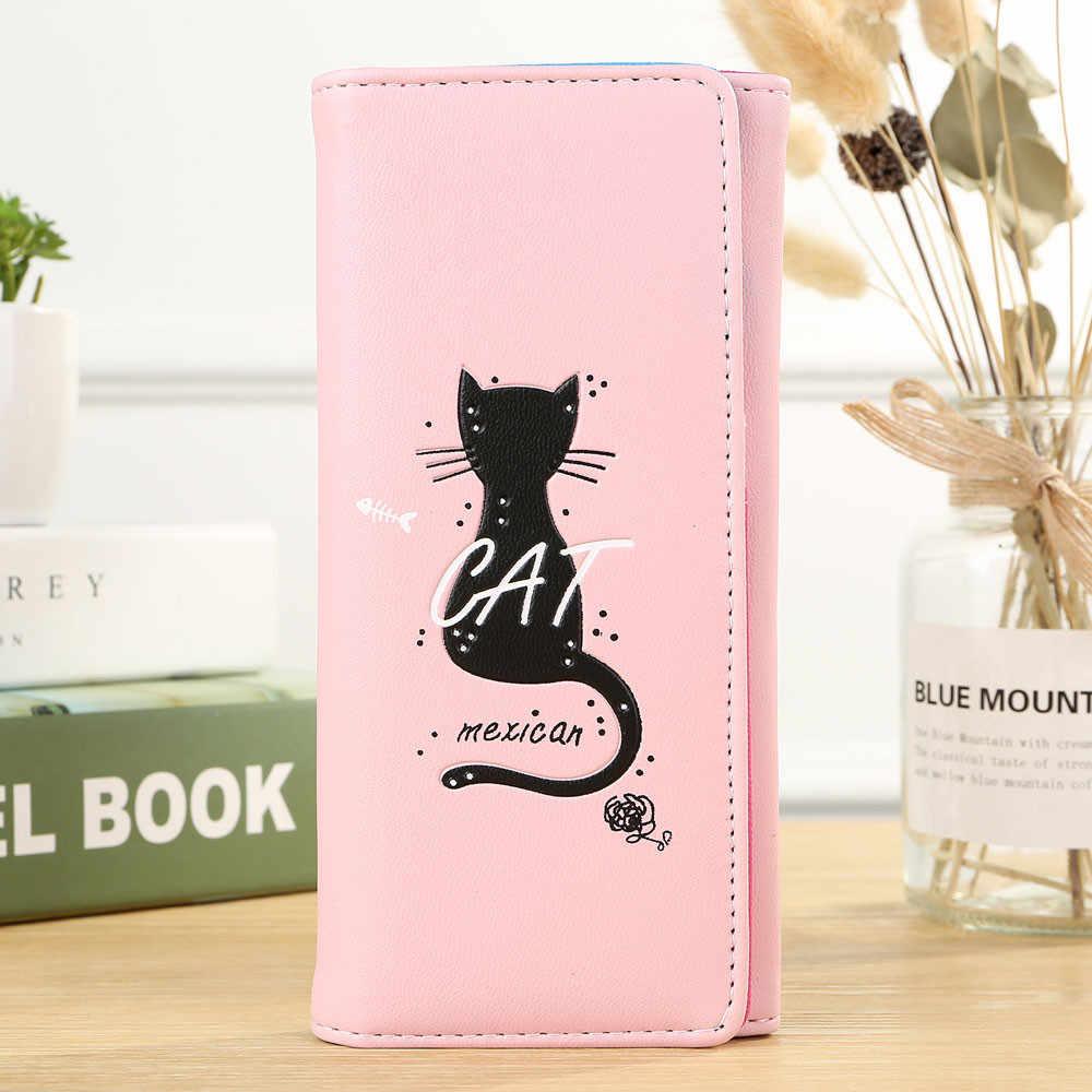 Kadın deri cüzdan kedi baskı karikatür sevimli uzun cüzdan Vintage çanta bayanlar için çile parti debriyaj telefonu çantası anahtar para çantası