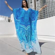 Oversize Ocean Blue Bohemian Printed Kaftan Beach Dress Plus Size Tunic Women Summer Beachwear Half Sleeve Maxi Dress Robe sky blue half sleeve maxi dress