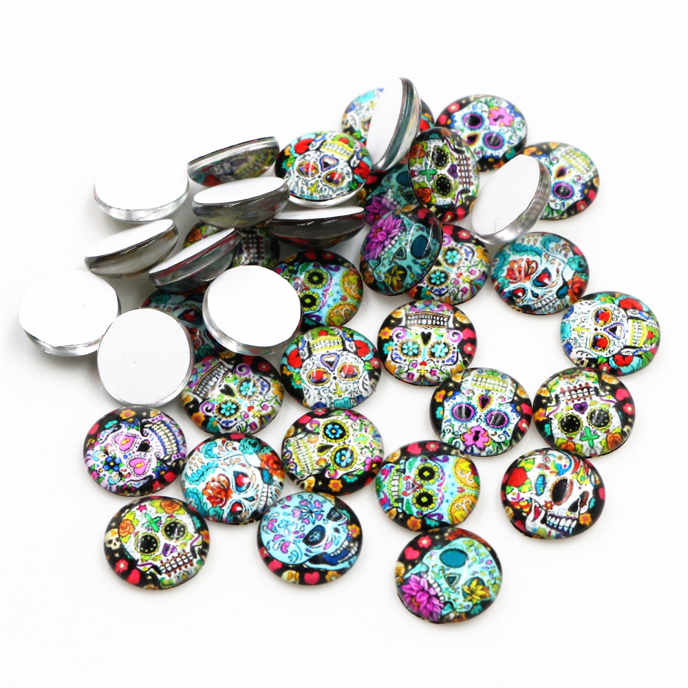 50pcs/Lot 12mm Skull Style Photo Glass Cabochons Mixed Color Cabochons For Bracelet Earrings Necklace Bases Settings-E5-49
