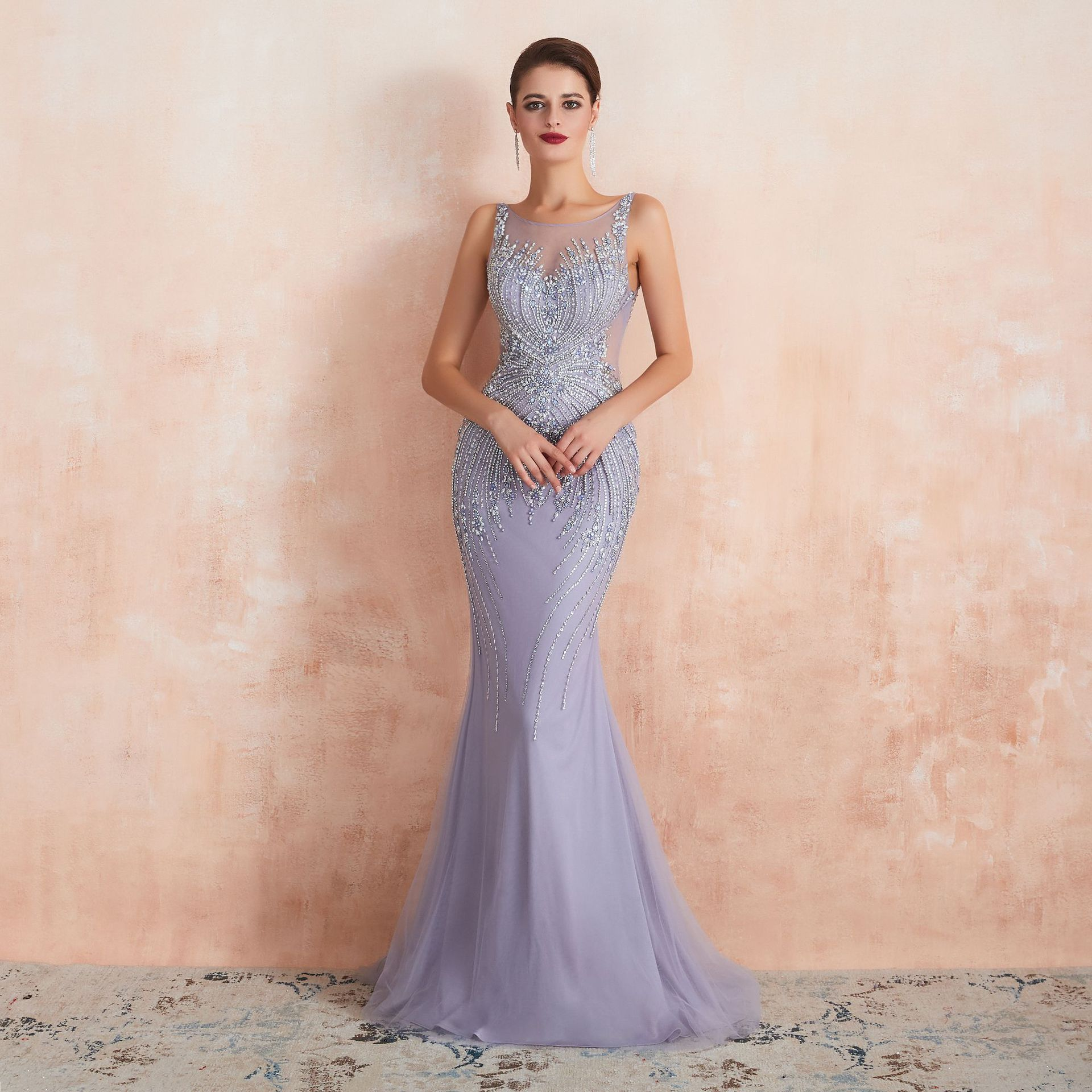2020 Sexy Evening Dresses Scoop Neck Crystal Beaded Sparkly Light Purple Formal Party Dresses For Women Mermaid Prom Dress Long